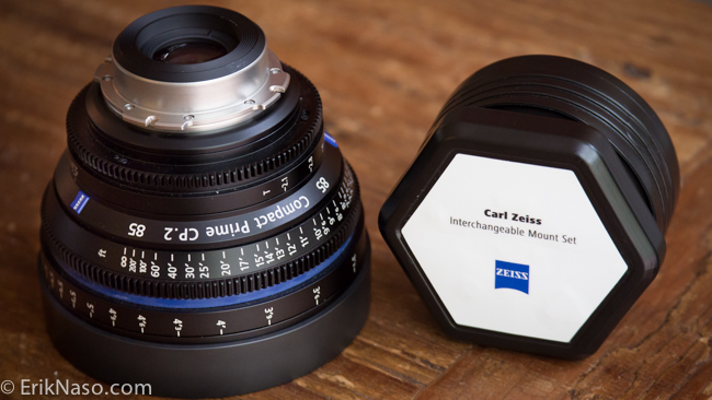 Zeiss CP.2 85mm PL next to the EF Mount Set