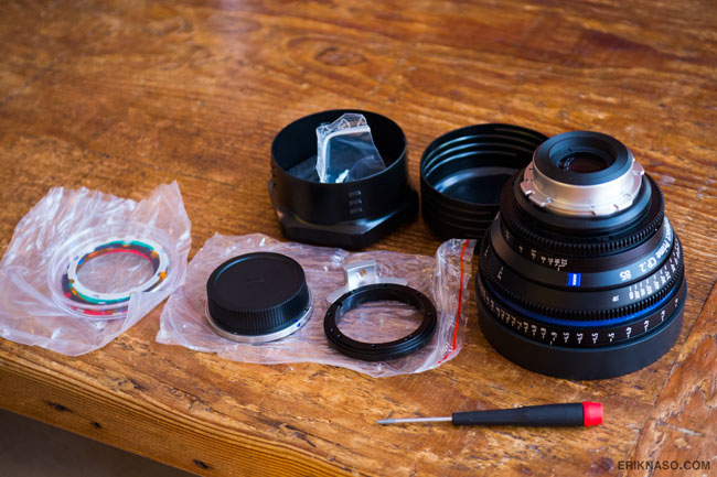 Zeiss CP.2 and EF mount kit ready to go.