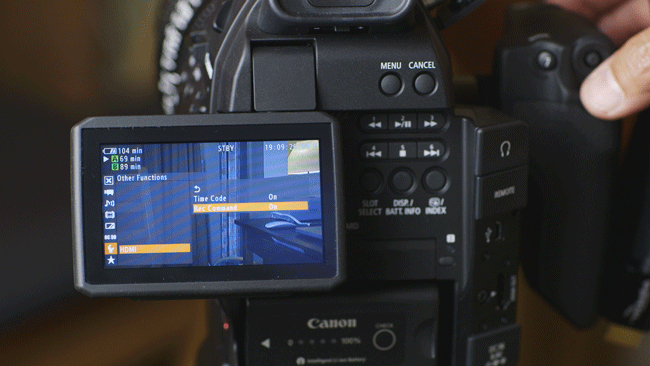 Change the C100-Menu TIMECODE Settings