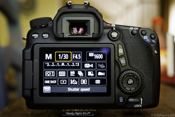 Canon 70D Q touch menu