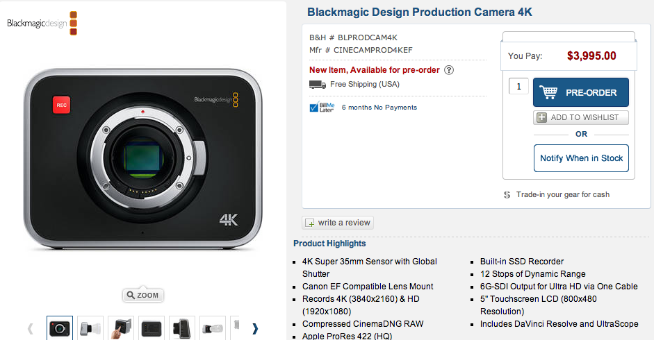 Blackmagic Production Camera 4K Shipping with a New Low Price  