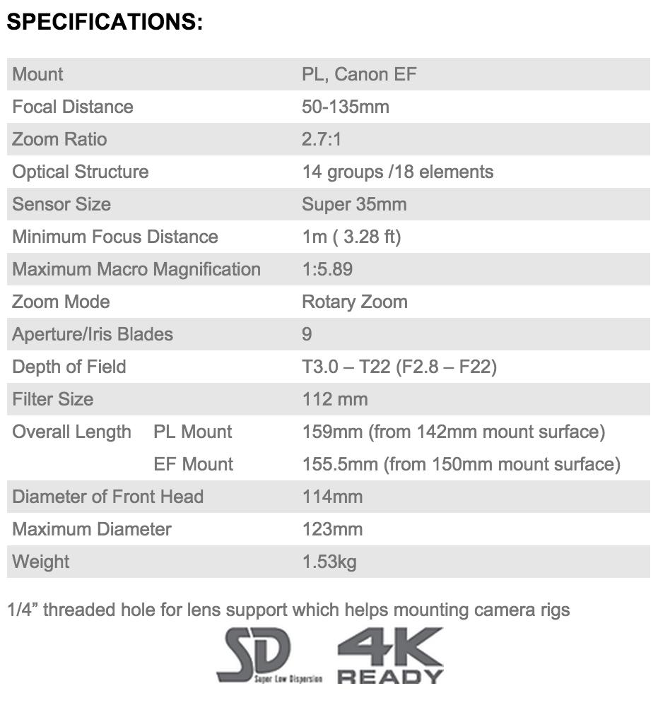 specifications Tokina Cinema 50-135