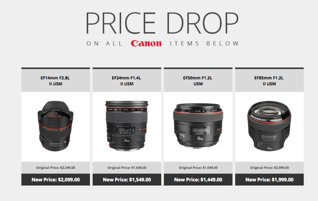 Canon Lowers Prices On Several Prime And Zoom Lenses Permanently.  