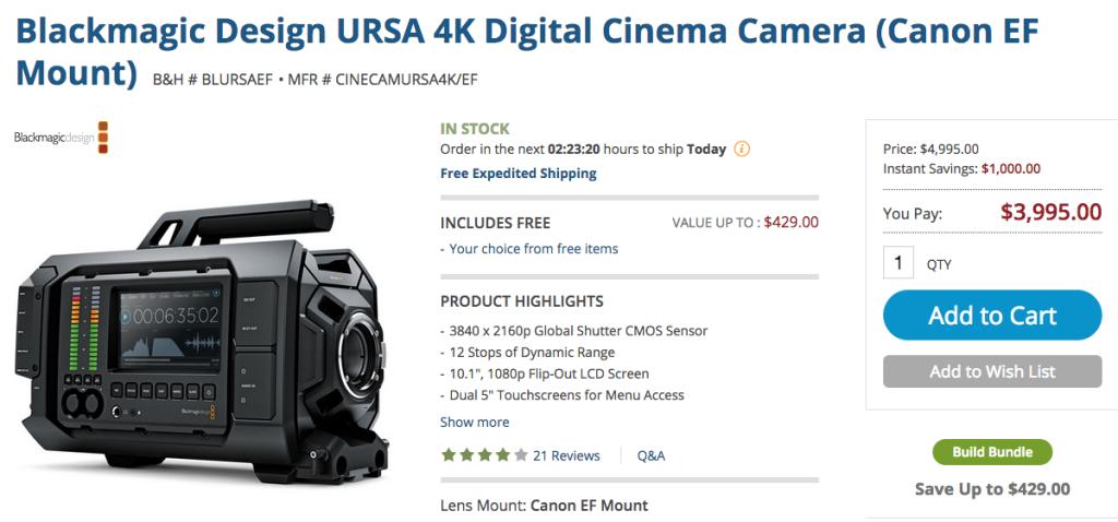 URSA 4K Price Drop